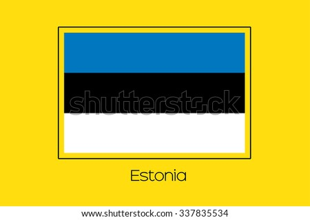 A Flag Illustration of the country of Estonia - stock vector