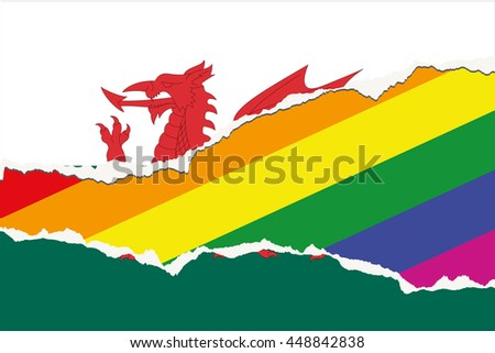 A Flag Illustration of the country of Wales - stock vector