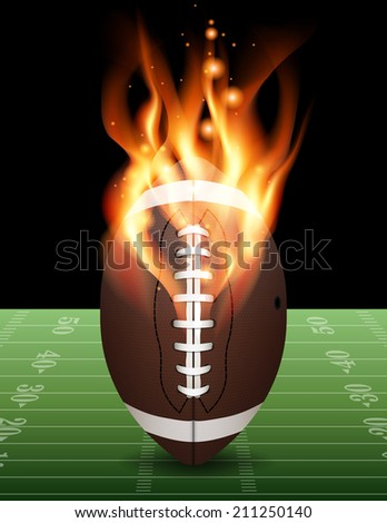 A flaming american football on field. Vector EPS 10. Vector contains transparencies and gradient mesh. - stock vector