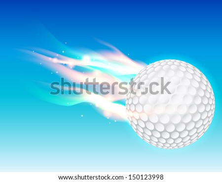 A flaming golf ball flying in the sky. Vector EPS 10. File contains transparencies and gradient mesh. - stock vector