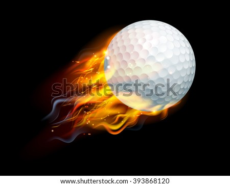 A flaming golf ball on fire flying through the air - stock vector