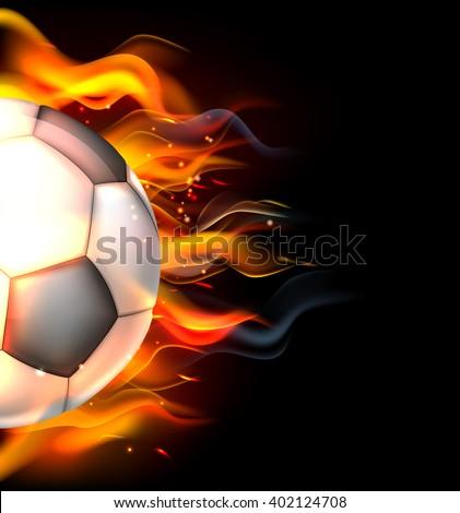 A flaming soccer football ball on fire concept - stock vector