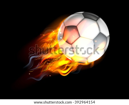 A flaming soccer football ball on fire flying through the air - stock vector