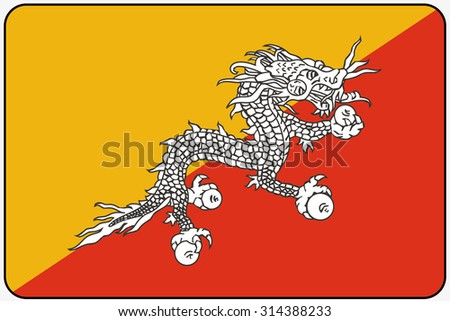 A Flat Design Flag Illustration with Rounded Corners and Black Outline of the country of Bhutan