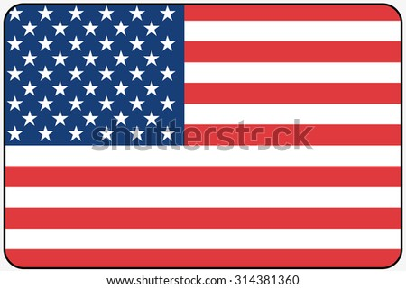 A Flat Design Flag Illustration with Rounded Corners and Black Outline of the country of United States of America