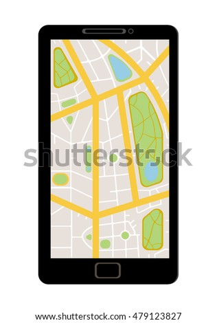 A flat eps 10 vector design showing a map, navigation, GPS application on a smart phone or tablet screen for creative design
