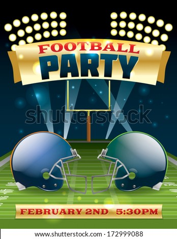A flyer design perfect for tailgate parties, football invites, etc. EPS 10. EPS file contains transparencies and gradient mesh. Text in EPS is layered for easy removal and customizing of your text.  - stock vector