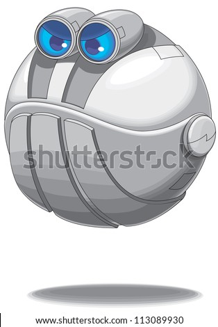 A flying cute angry bot vector - stock vector