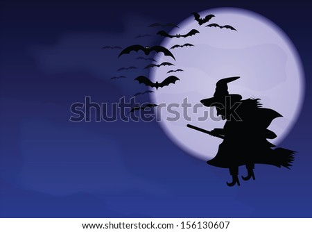 A flying witch and bats on a background of the moon.
