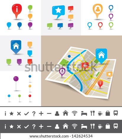 A folded map of an imaginary city with GPS icons and pin template for navigation system - stock vector