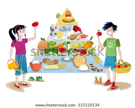 A food guide pyramid of healthy foods divided into sections to show the recommended intake for each food group. In front of the pyramid a boy and a girl smiling with some vegetables in their hands. - stock vector