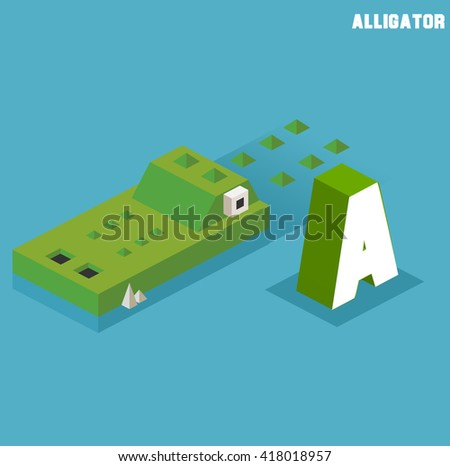 A for Alligator. Animal Alphabet collection. vector illustration