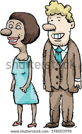 A formal cartoon couple dressed for a night out.