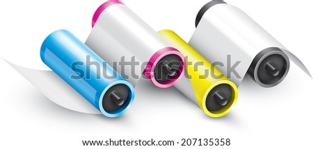 A four-color printing press - stock vector