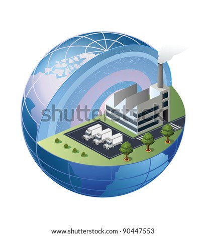 A fragment of the factory is located in the area of the globe - stock vector