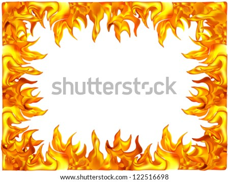 A frame is made out of fire of flame - stock vector