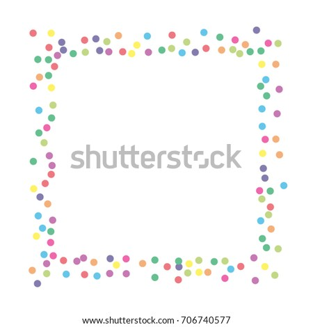 A frame of multicolored dot confetti. Abstract scatter of confetti on a white background. Astral design. Vector illustration.