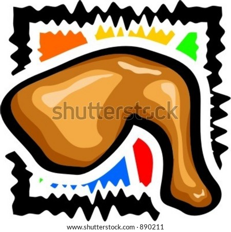 A fried chicken round. Vector illustration. - stock vector