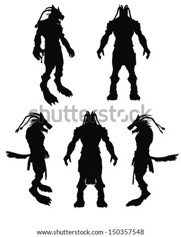 A frightening werewolf vector silhouette - stock vector