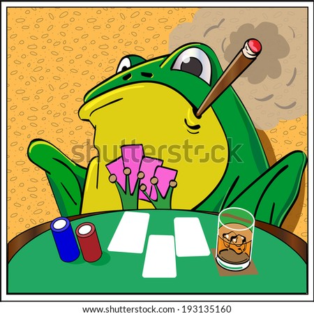 A frog plays poker at a card table.