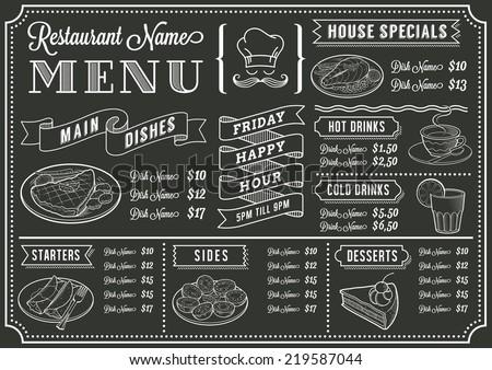 A full vector template Chalkboard menu - stock vector