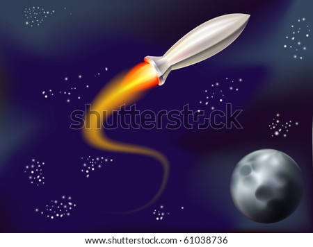 a fun illustration of a rocket flying in space with stars and planet in view - stock vector