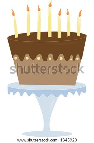A fun & playful chocolate cake. Fully editable vector illustration. - stock vector