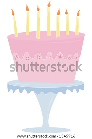 A fun & playful pink cake. Fully editable vector illustration.