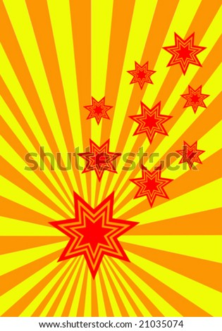 A funky stars vector background illustration with red and orange stars on an orange and yellow sunburst background