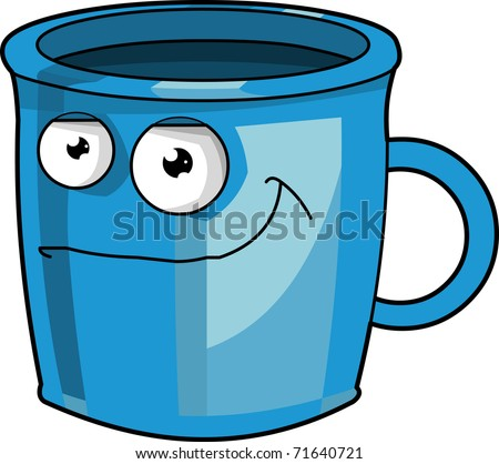 A funny blue Mug vector illustration isolated on white background - stock vector
