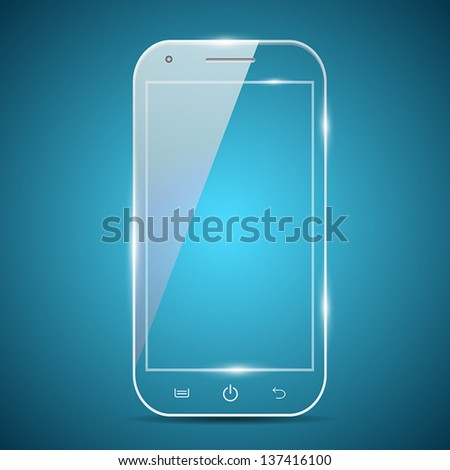 A futuristic glass transparent vector smartphone - stock vector