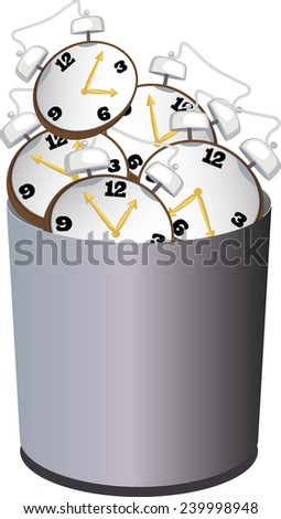 A garbage bin filled with alarm clock as a metaphor for wasting time - stock vector
