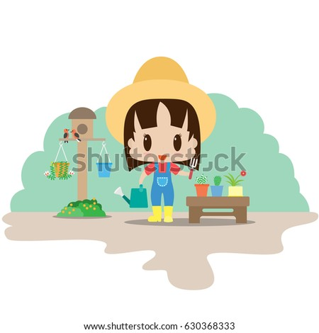 A Gardener In The Garden,Cute Woman In The Yellow Boots With Gardening Tools