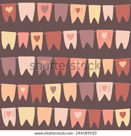 A garland of flags. Valentine's pattern. Greeting card.