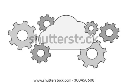 A Gear collection with cloud. A Contemporary style. Vector flat design illustration isolated white background. Horizontal layout. - stock vector