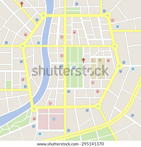 A generic city map of an imaginary city with light colors with some cute important places icons. - stock vector
