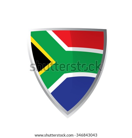 A geometric badge with the south african flag on a white background