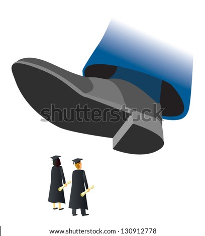 A giant shoe about to stomp two college graduates. - stock vector