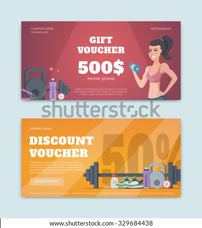 A gift voucher for a fitness club. Certificate offer discounts for sports - stock vector