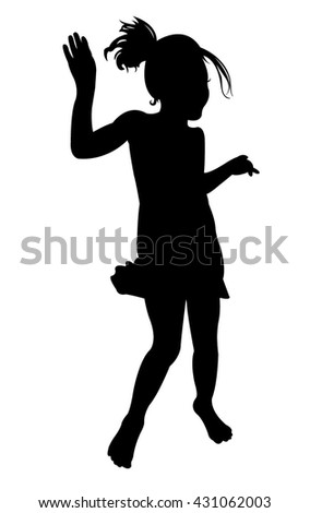 a girl dancing, silhouette vector