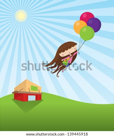 A girl floats away with groceries, after shopping at a market. This is an Ai 10 file that does not contain any transparencies or blends. All layers have been grouped and named for easy editing. - stock vector