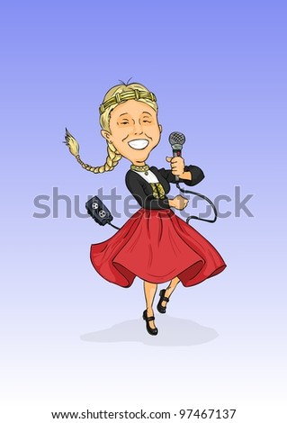 A girl in traditional dress and dictaphones hands - stock vector