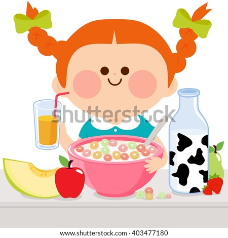 A girl is having her healthy breakfast of cereal, milk, juice, and fruits. - stock vector