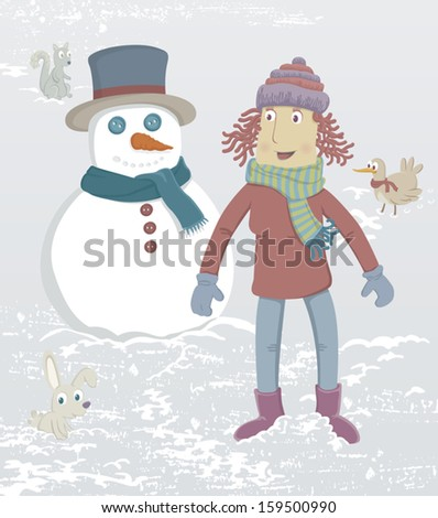 A girl just made a snowman. Nearby is a rabbit, a squirrel and a bird. EPS8 Illustration. - stock vector