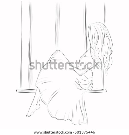 Girl looks out window girl on stock vector 581375446 shutterstock a girl looks out the window the girl on a window sill pencil drawing thecheapjerseys Images