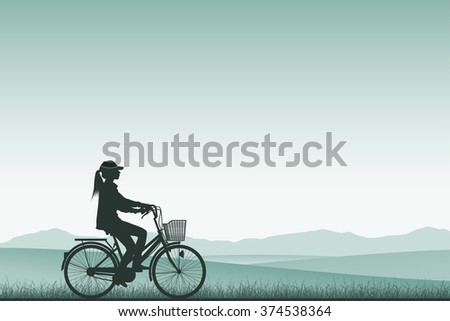 A Girl on a Bicycle in Silhouette with Meadow Landscape - stock vector
