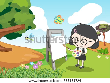 a girl painting in the garden - stock vector