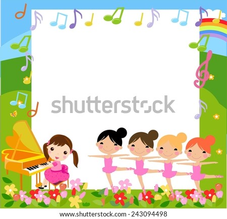 A girl playing piano and four girls dancing - stock vector