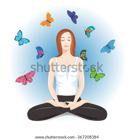 A girl sitting in the lotus pose