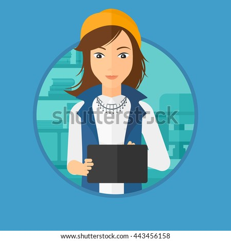 A girl using a tablet computer in the office. Business woman working with a digital tablet. Vector flat design illustration in the circle isolated on background. - stock vector
